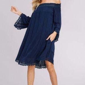 Dresses - PLEATED ELASTIC LACE OFF SHOULDER DRESS